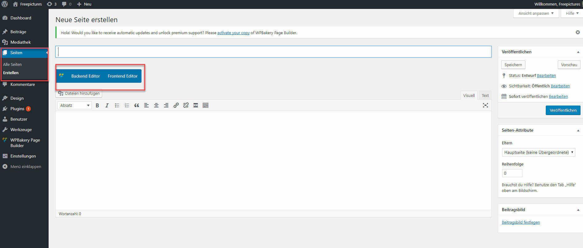 Mit dem Visual Composer eine Seite erstellen.