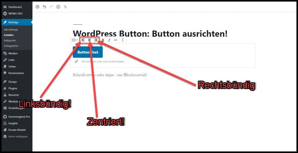 Button ausrichten mit WordPress
